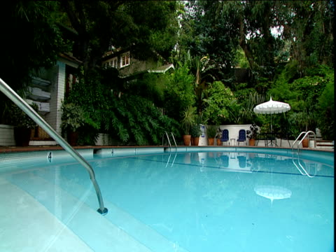 Still blue waters of swimming pool Chateau Marmont hotel Sunset Strip Los Angeles
