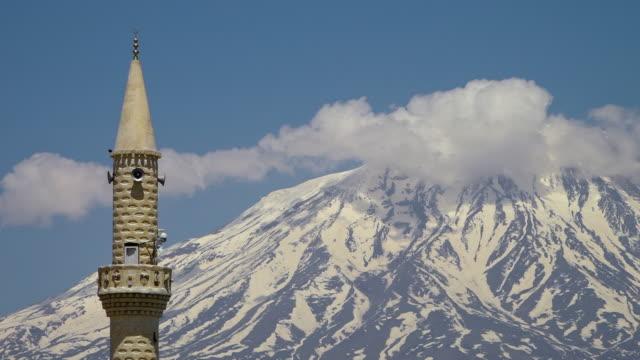 Still clouds around Mount Ararat and a minaret