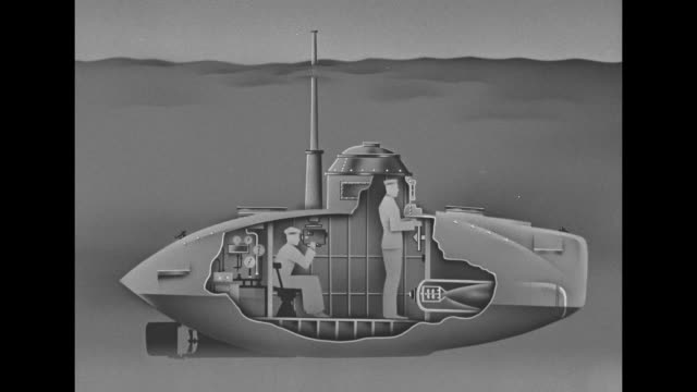graphic of 2man Japanese submarine cut out to show the 2man crew inside one man navigating and one looking through periscope torpedo stands in its...