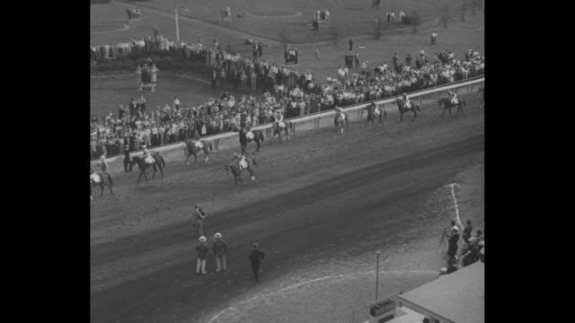 still horse with wreath of roses around neck title written out in cursive writing kentucky derby superimposes / title card burgoo king wins derby /... - bugle stock videos and b-roll footage