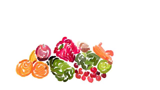 静物、新鮮なフルーツと野菜 - オレンジピーマン点の映像素材/bロール