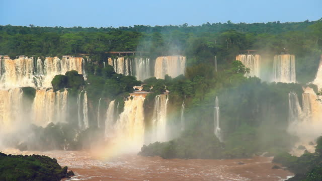 Still Panoramic shot of waterfalls at Iguazu falls
