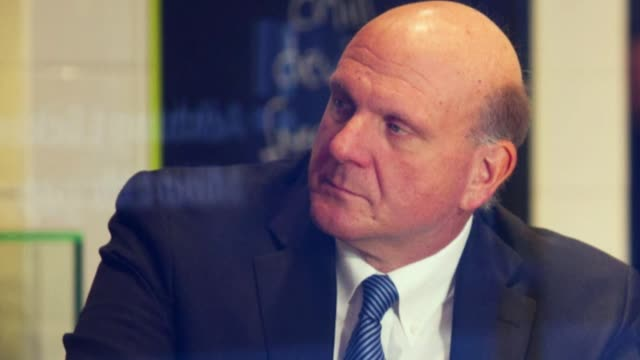 Still photo montage of the new owner of the Los Angeles Clippers Steve Ballmer None of the images show any Microsoft logos or signage