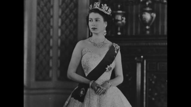 still photo of elizabeth wearing crown / note exact day not known - crown headwear stock videos and b-roll footage
