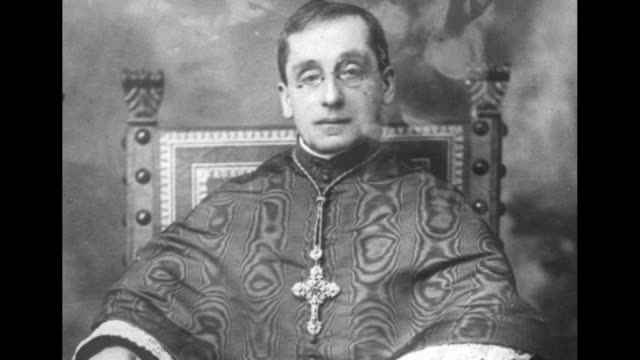 still photo of new pope benedict xv wearing a cross and a moire robe / note: day not known - 1910 stock videos & royalty-free footage