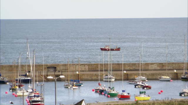 still shot of a bay filled with boats - anchored stock videos & royalty-free footage