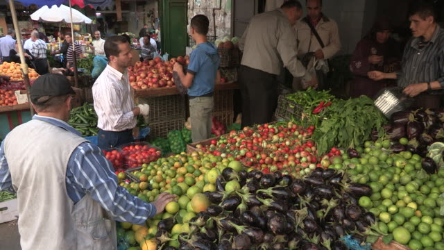 Still shot of a busy produce stand