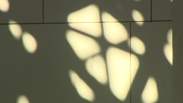 still shot of abstract shadows being cast on an interior wall of the louvre abu dhabi - schattig stock-videos und b-roll-filmmaterial