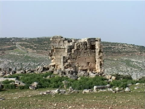 still shot of the walls of the ruined church and byzantine monastery of kalouta thought to be a residence of saint maron the founder of the maronite... - dry stock videos & royalty-free footage