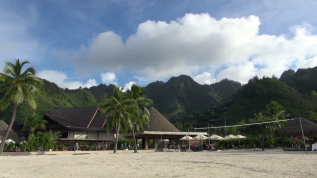 still view of beautiful with beach volleyball court - tahiti stock videos and b-roll footage