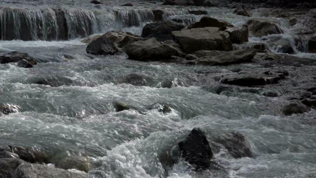 stillach river near oberstdorf, allgau, swabia, bavarian alps, bavaria, germany, europe - bavarian alps点の映像素材/bロール