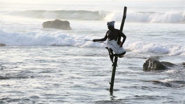 Stilt visser in Weligama, Sri Lanka