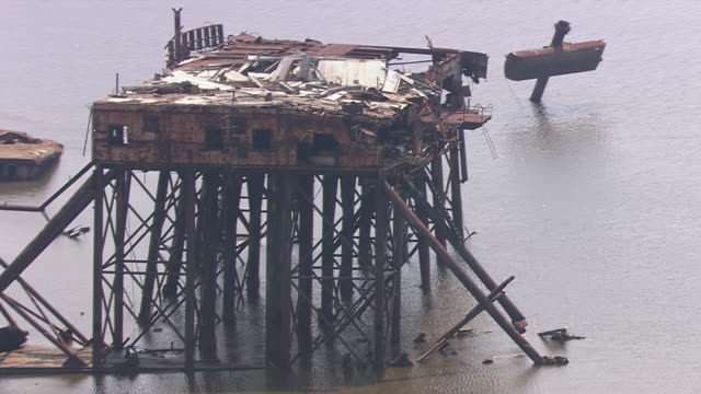 stilt house destructed due to natural disaster / united states - stilt house stock videos & royalty-free footage