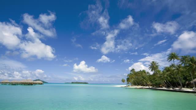 fm ws stilt huts on water at pearl beach resort/ bora bora, tahiti  - medium group of objects stock videos & royalty-free footage