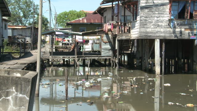 ms zo stilt villages / kota kinabalu, sabah, malaysia   - water pollution stock videos and b-roll footage