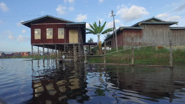 stilts houses on a village on the inle lake. shan state, myanmar (burma). - stilts stock videos and b-roll footage