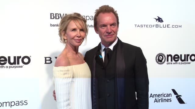 sting and trudie styler at the elton john aids foundation presents the 25th annual academy awards viewing party on february 26, 2017 in west... - trudie styler stock videos & royalty-free footage