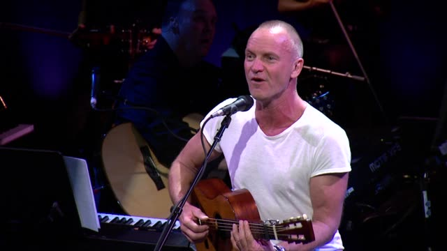 """sting performs """"and yet"""" at sting: the last ship - to benefit the public theater at the public theater on september 25, 2013 in new york, new york - benefiz veranstaltung stock-videos und b-roll-filmmaterial"""