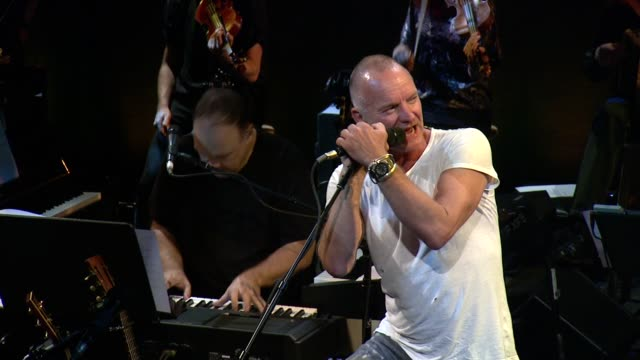 """sting performs """"what we have got?"""" at sting: the last ship - to benefit the public theater at the public theater on september 25, 2013 in new york,... - benefiz veranstaltung stock-videos und b-roll-filmmaterial"""
