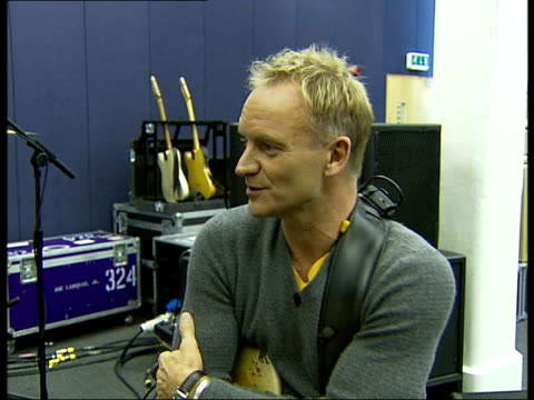 sting rehearsal and interview ahead of royal gala dinner to celebrate 30th anniversary of prince's trust; sting interview continued - on his recent... - プリンスズトラスト点の映像素材/bロール