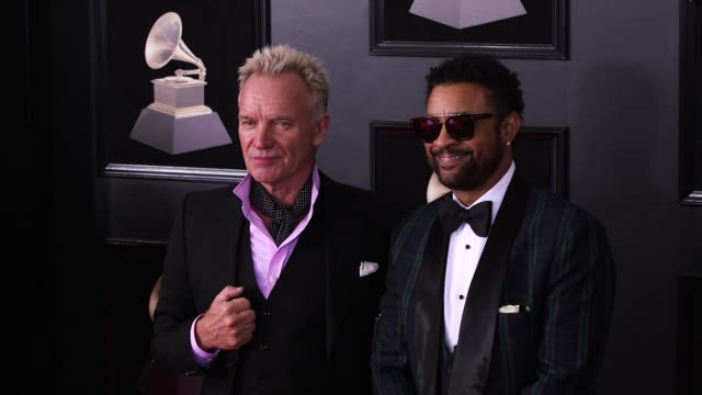 sting, shaggy at 60th grammy awards & celebration party at madison square garden on january 28, 2018 in new york city. - grammy awards stock-videos und b-roll-filmmaterial