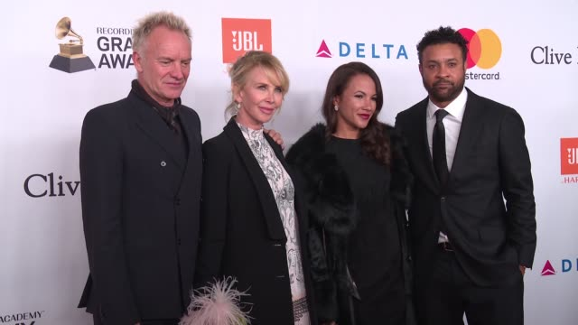 sting, shaggy, trudie styler and rebecca packer at clive davis pre-grammy gala at sheraton times square on january 27, 2018 in new york city. - trudie styler stock videos & royalty-free footage