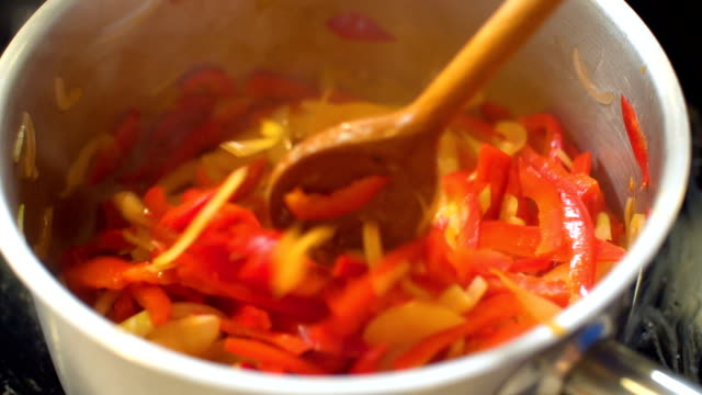 Stirred Vegetables In A Pan, slo mo