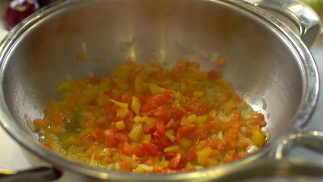 stirred vegetables in a pan, slo - brussels sprout stock videos & royalty-free footage