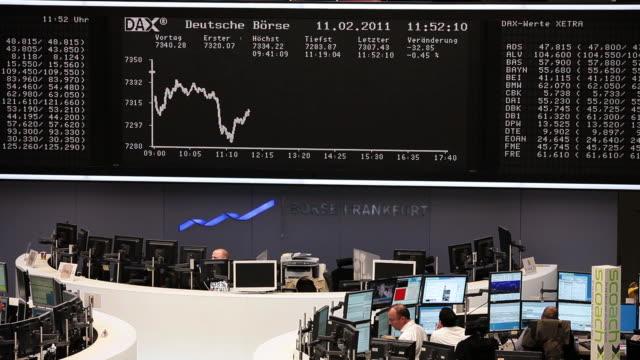 ms stock board of frankfurt stock exchange / frankfurt/main, hesse, germany - liniendiagramm stock-videos und b-roll-filmmaterial