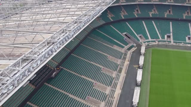 Stock drone and ground footage of Twickenham Stadium ahead of England's Autumn International match against Argentina