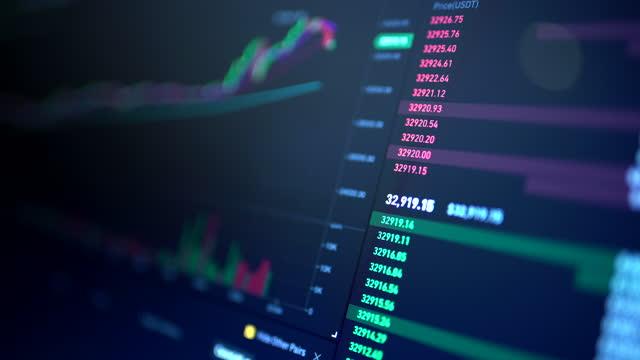 vídeos de stock, filmes e b-roll de interface da bolsa de valores - blockchain