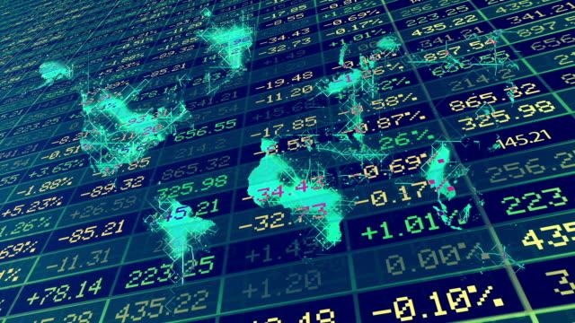 vídeos de stock e filmes b-roll de conceito de mercado de bolsa de valores - mapa múndi