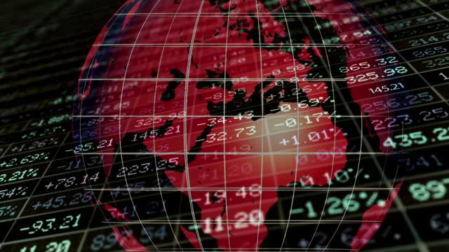 vídeos de stock e filmes b-roll de stock exchange market concept with digital globe - mapa múndi