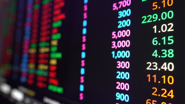 Stock exchange market data on screen monitor