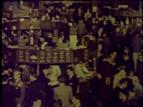 1957 pan nyse stock exchange trading floor / new york city, new york, united states - new york stock exchange stock videos & royalty-free footage