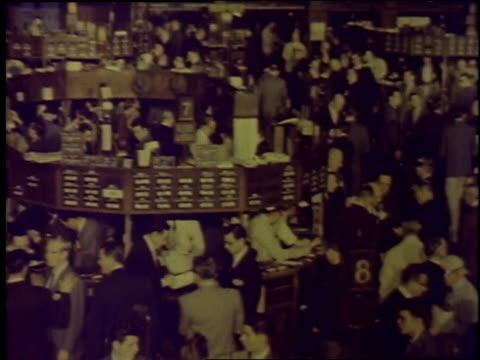1957 PAN NYSE stock exchange trading floor / New York City, New York, United States