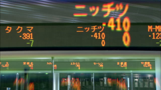 stock information scrolls by on an electronic ticker at the tokyo stock exchange. available in hd. - kurstafel stock-videos und b-roll-filmmaterial