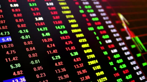 stock market and exchange and bid, offer, volume on display rapid change - trading stock videos & royalty-free footage