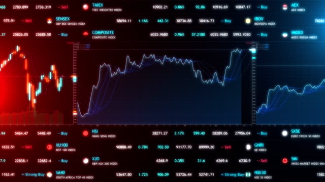 stock market bar graph trading - stock market and exchange stock videos & royalty-free footage