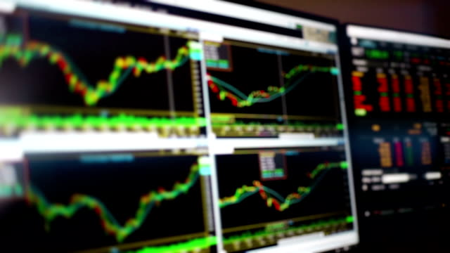 stock market charts and summary market trading in led display, stock market data trading. - computer monitor stock videos & royalty-free footage