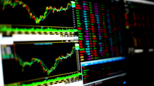 stock market charts and summary market trading in led display, stock market data trading. - risk stock videos & royalty-free footage