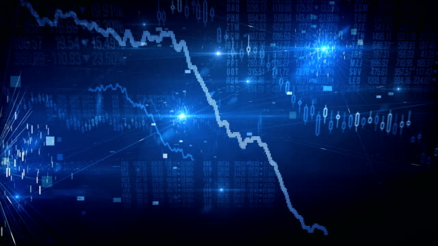 stock market crash / bear market (blue) - loop - loss stock videos & royalty-free footage