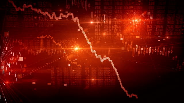 stock market crash / bear market (red) - loop - moving down stock videos & royalty-free footage