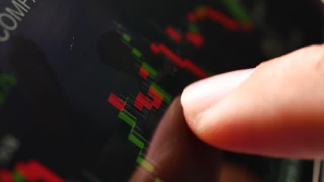 vidéos et rushes de données boursières analysant sur la tablette numérique - digital tablet