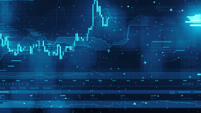 stock market financial data and charts - bull market stock videos & royalty-free footage