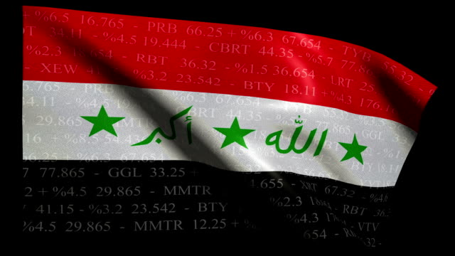 stock market flag of iraq - alpha and loop - iraqi flag stock videos and b-roll footage
