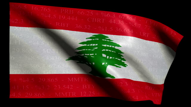 stock market flag of lebanon - alpha and loop - lebanese ethnicity stock videos and b-roll footage