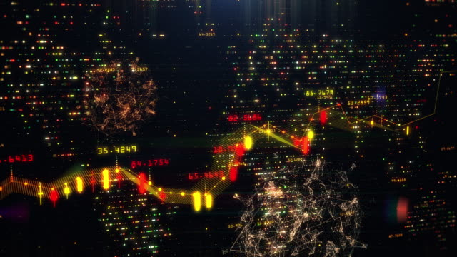 stock market graph with a floating coronavirus - line graph stock videos & royalty-free footage