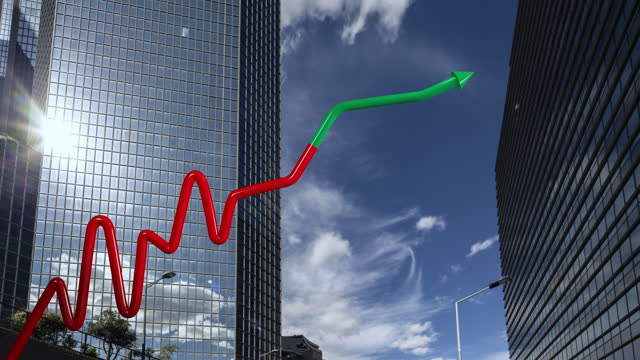 stock market growth curve with hyperlapse of business buildings in background - film composite stock videos & royalty-free footage