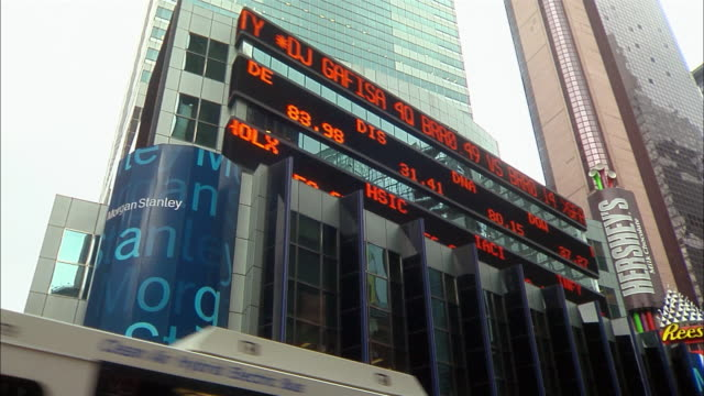 Stock market numbers scroll across a sign on the top of the headquarters of Morgan Stanley Dean Witter in Times Square.
